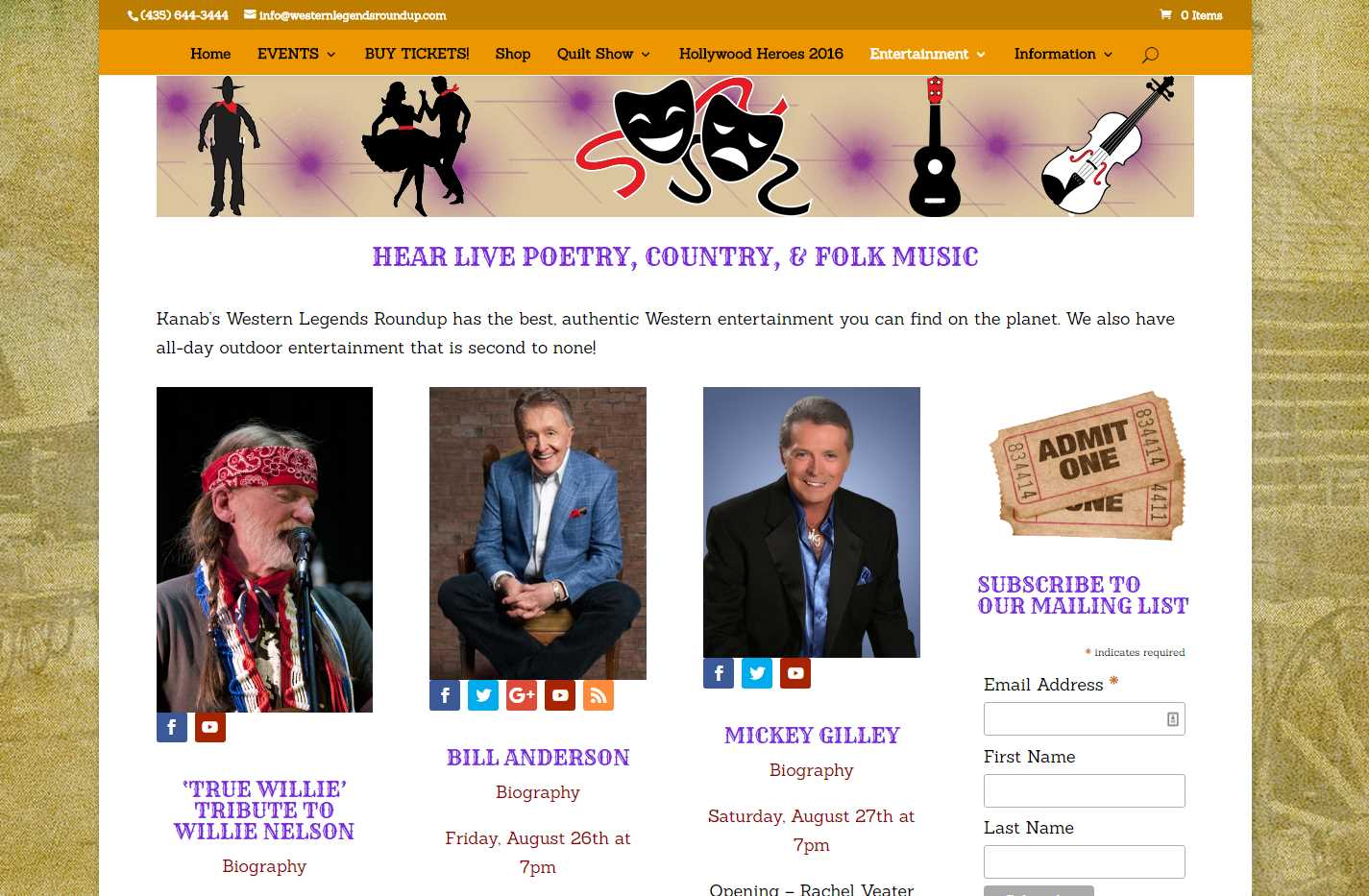 Western Legends Round-Up Entertainment Page