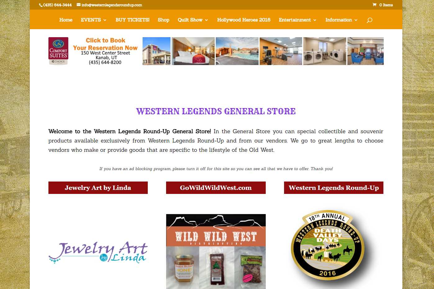Western Legends Round-Up General Store Page