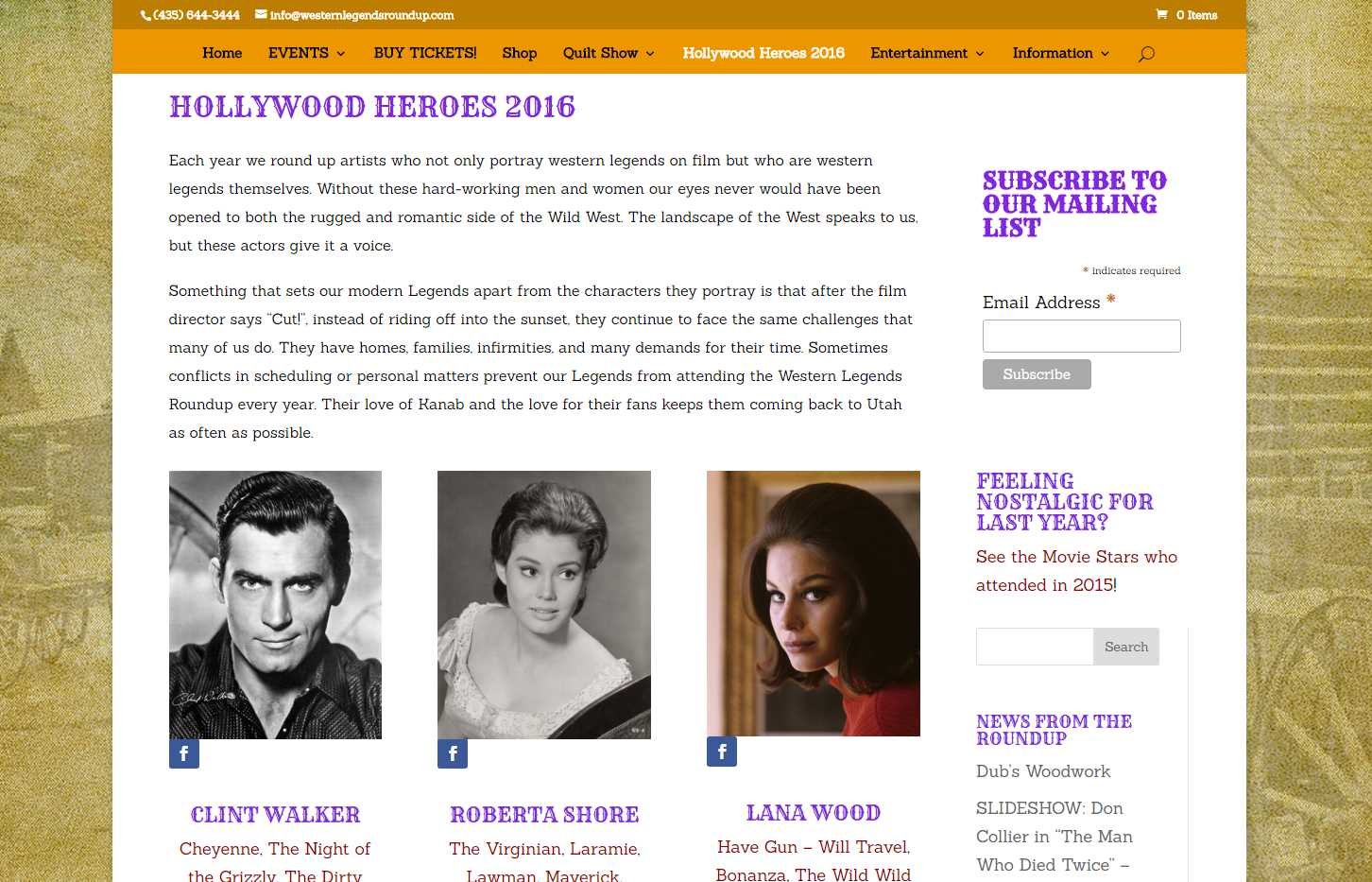 Western Legends Round-Up Hollywood Stars Page