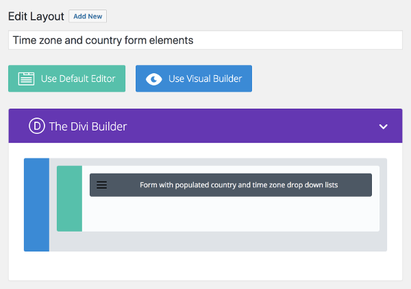 Divi Contact Form with Populated Country and Time Zone Drop Down Lists