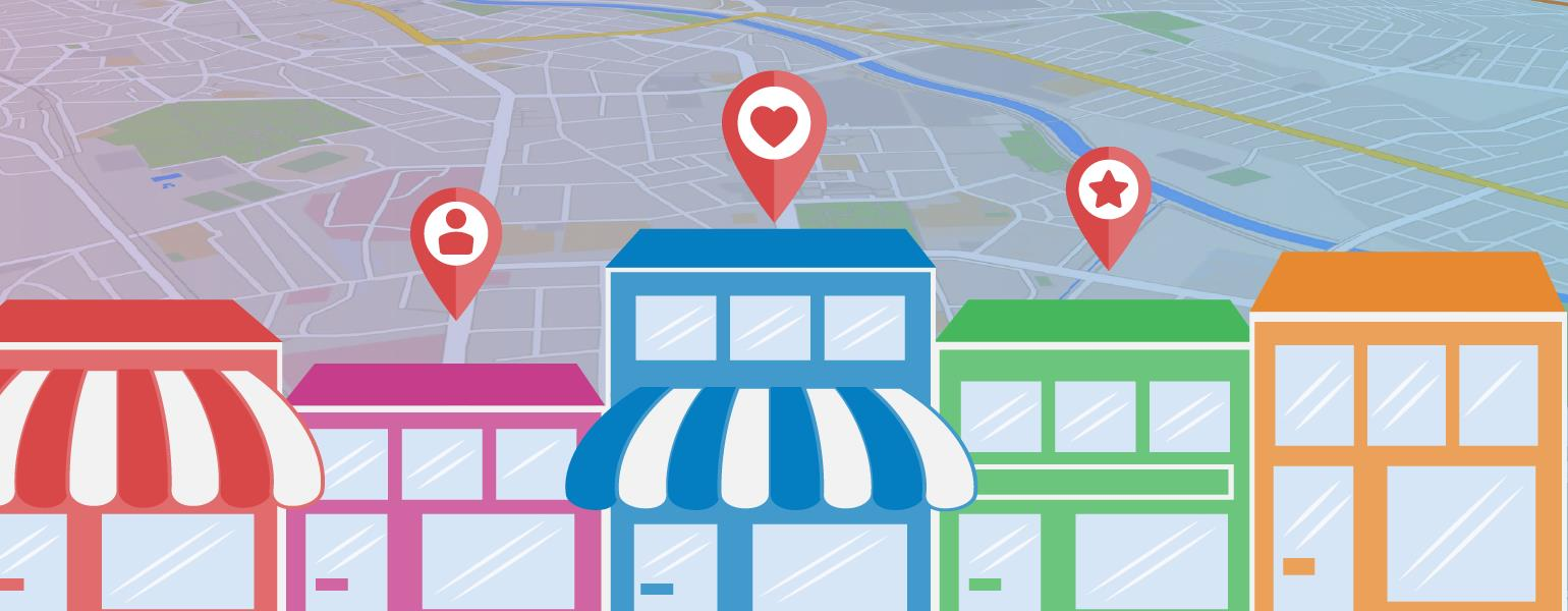 Illustration of storefronts depicting local business listing topic