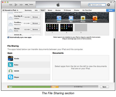 Screenshot of the file sharing section